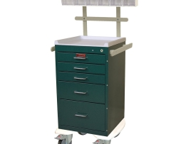 Harloff AL3245K-ANS Mini Line Aluminum Five Drawer Anesthesia Cart