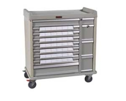 Harloff SL42BIN3 Aluminum Standard Line Medication Cart