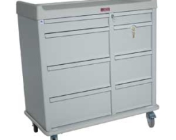 Harloff AL602PC Aluminum 600 Capacity Punch Card Medication Cart