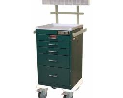 Harloff AL3245E-ANS Aluminum Mini Line Five Drawer Anesthesia Cart
