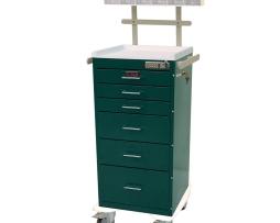 Harloff AL3256E-ANS Aluminum Mini Line Six Drawer Anesthesia Cart