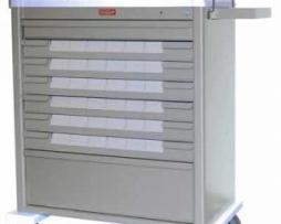 Harloff AL8W10K36BIN3 Aluminum Med-Bin Medication Cart