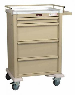 Harloff AL8W10EKC4PC Medication Cart Aluminum Punch Card Four Drawer