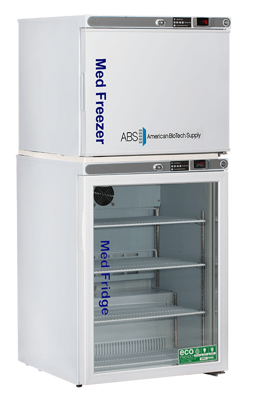 2 Solid Door 9 cu ft White American BioTech Supply ABT-HC-RFC9 Premier Combination Refrigerator//Freezer Capacity